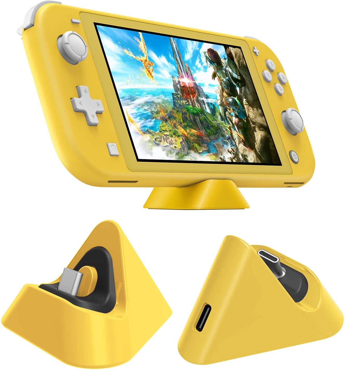 Universal Gaming Machine Portable Triangle Shaped Type-C Charging Base for Switch/Lite yellow
