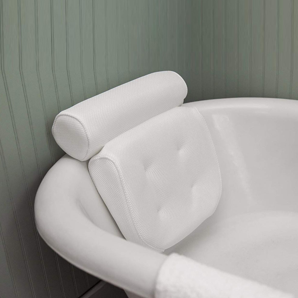 Bath Tub Spa Pillow Cushion Neck Back Support Foam Headrest white
