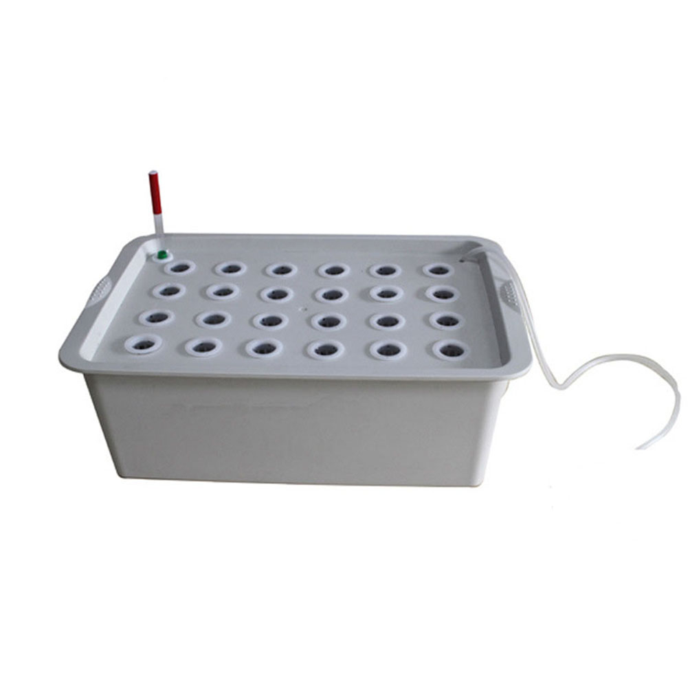 24 Holes Site Hydroponic Box Kit for Planters Seedling Vegetables Growing gray