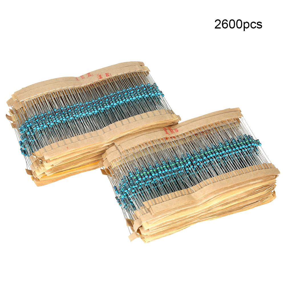 2600 Pcs 130 Values 1/4W 0.25W 1ohm 3M Resistor Resistors Kit Assortment Set 2600