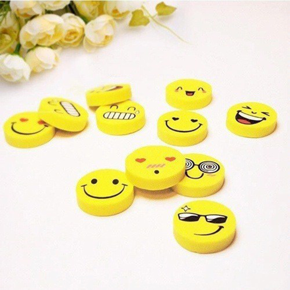 4 Pcs Cute Creative Expression Pattern Round Eraser Portable Easy to Use (Random Style) Random style