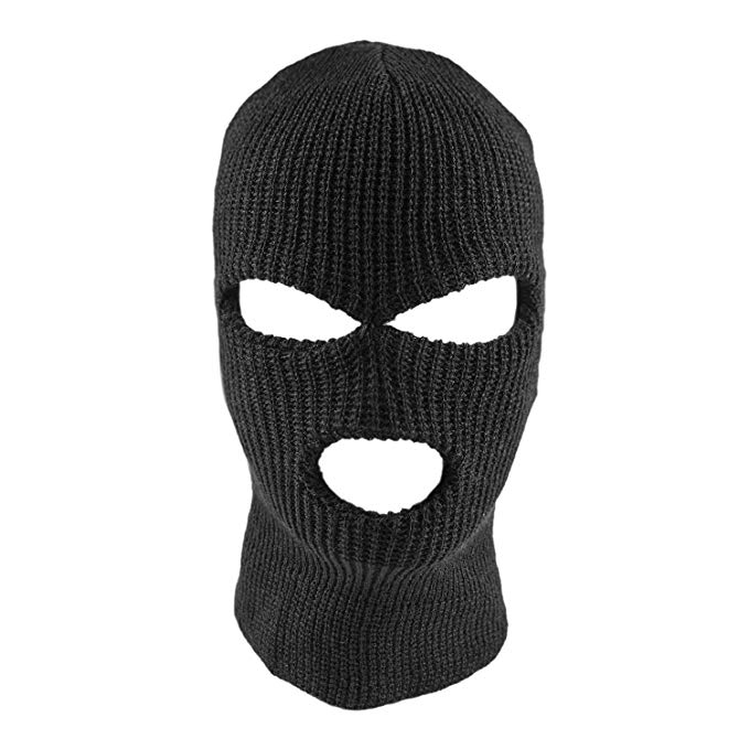 Unisex Outdoor Knitting Sewing Face Mask Cap Warm for Skiing Riding black_One size