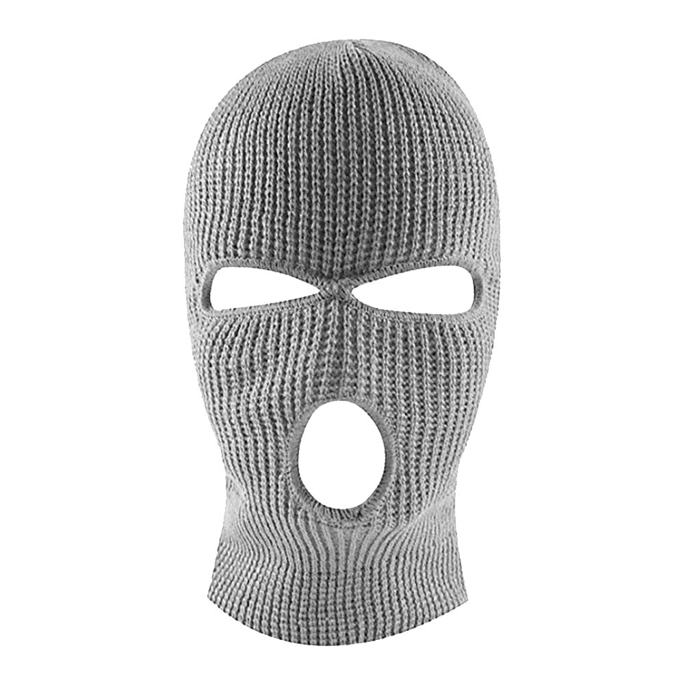 Unisex Outdoor Knitting Sewing Face Mask Cap Warm for Skiing Riding light grey_One size