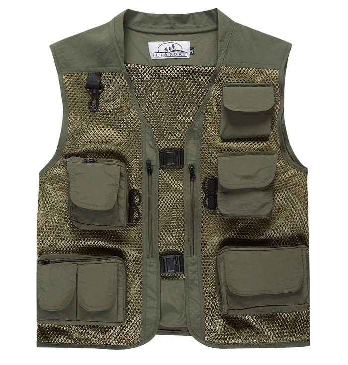 Men Summer Casual Camo Vest Multi-pocket Breathable Mesh Hiking Hunting Vest Professional Photography Jacket Army Green_L