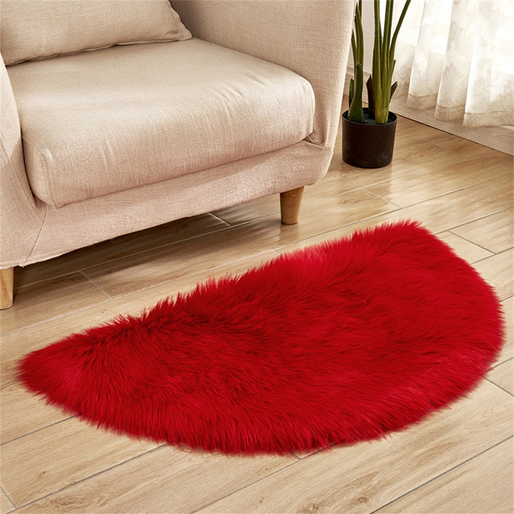 Semi-circle Plush Round Area Rugs for Kids Girls Room Carpet Nursery Rug Bedroom Living Room Floor Carpet  red_45*90cm