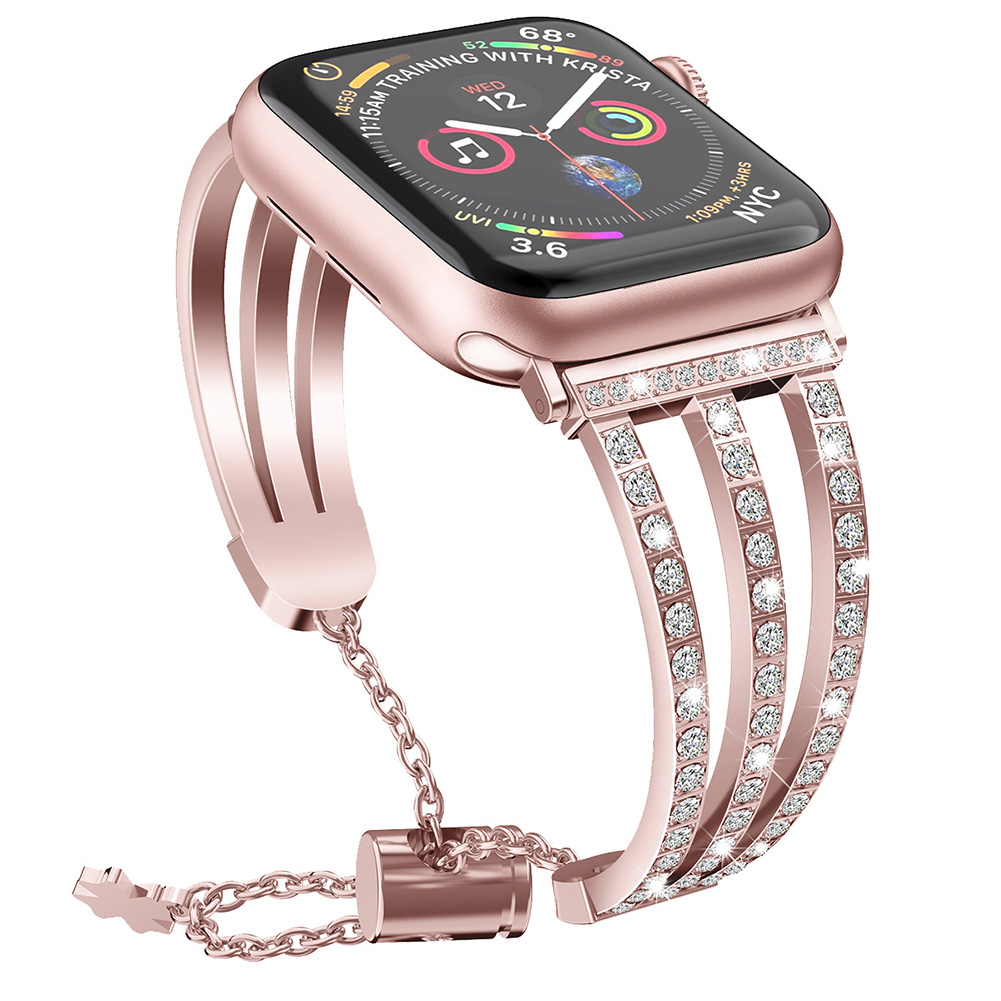 Treble Diamante Metal Watch Strap for apple iwatch1/2/3/4 Generations Rose powder 42/44MM