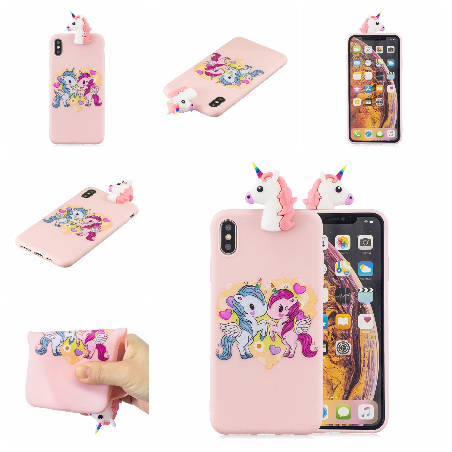 For OPPO Realme 2/A5 Indian Version 3D Cute Coloured Painted Animal TPU Anti-scratch Non-slip Protective Cover Back Case Light pink