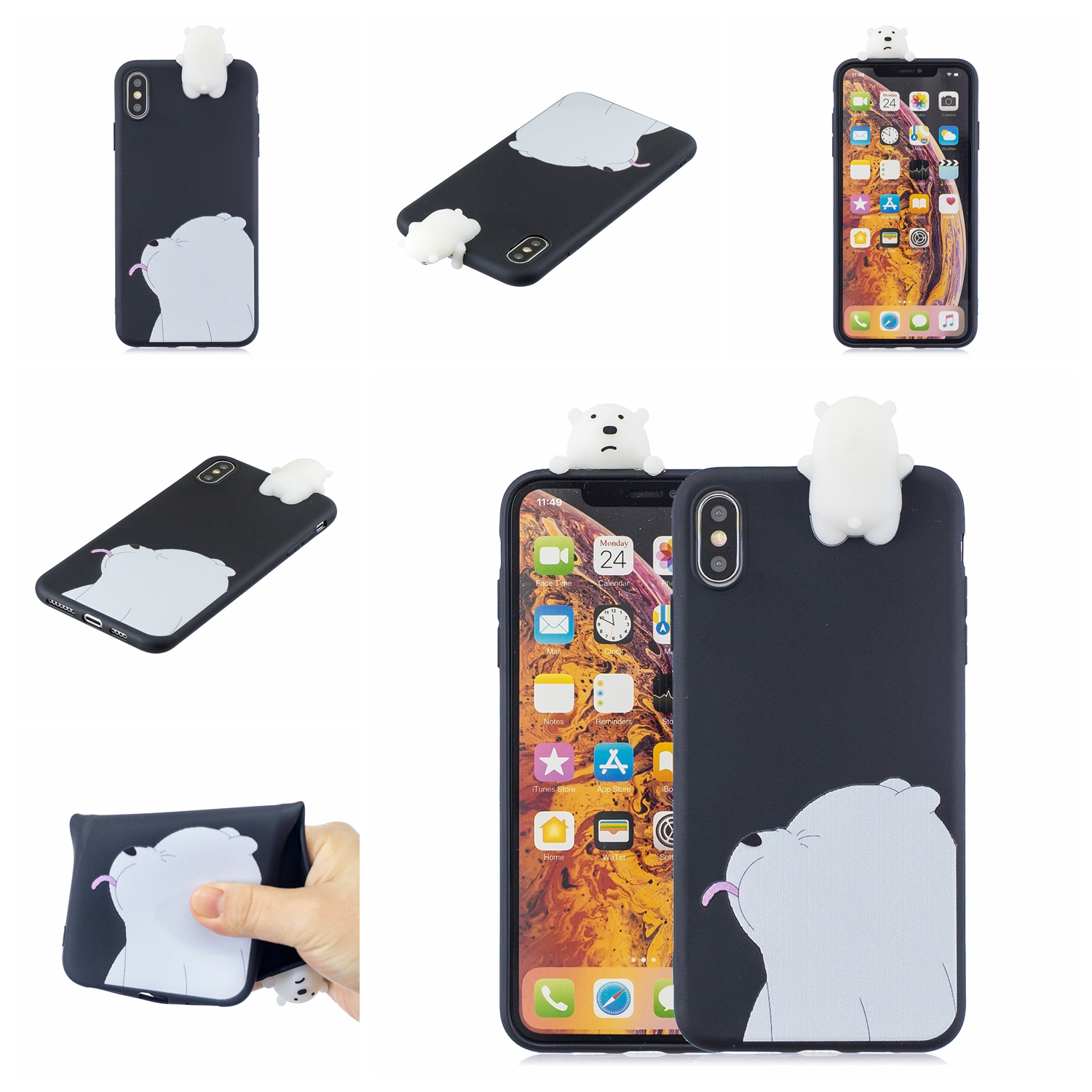For OPPO Realme 2/A5 Indian Version 3D Cute Coloured Painted Animal TPU Anti-scratch Non-slip Protective Cover Back Case black