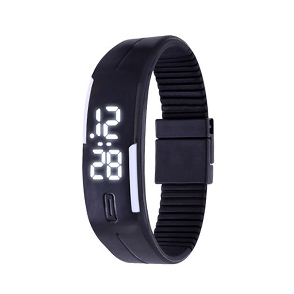 Candy Color male Famale Wristwatch Silicone LED kids Watches Date Bracelet Digital Sports Clock black