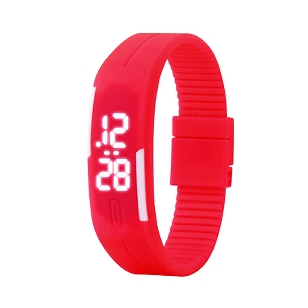 Candy Color male Famale Wristwatch Silicone LED kids Watches Date Bracelet Digital Sports Clock red