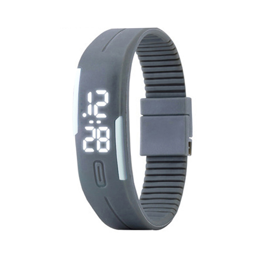 Candy Color male Famale Wristwatch Silicone LED kids Watches Date Bracelet Digital Sports Clock gray