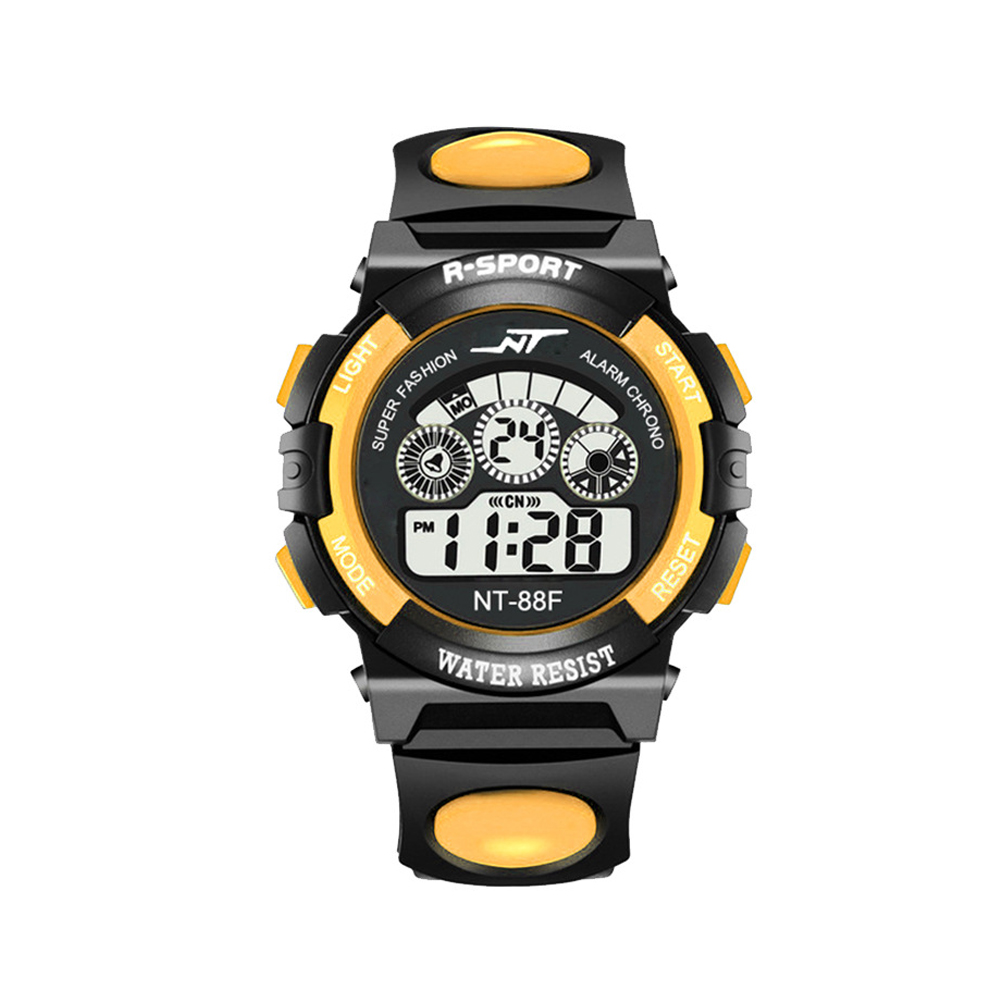 SIMU Kids Boy Girls Electronic Watch Students Multi-function Sports Casual Wristwatch yellow