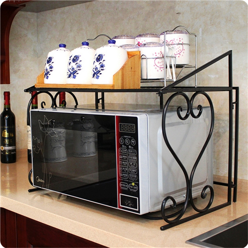 Kitchen Storage Stand Iron Oven Rack Foldable Frame Utility Storage Shelf Plate Organizer black_55*37*45cm