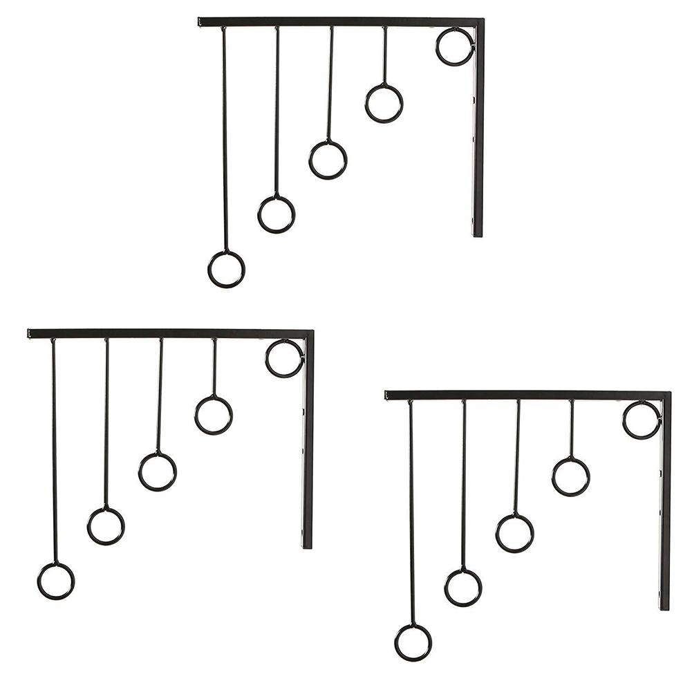3pcs Clothing Display Stand with 5pcs Hanging Rings Wall Garment Racks Cloth Organizer  black