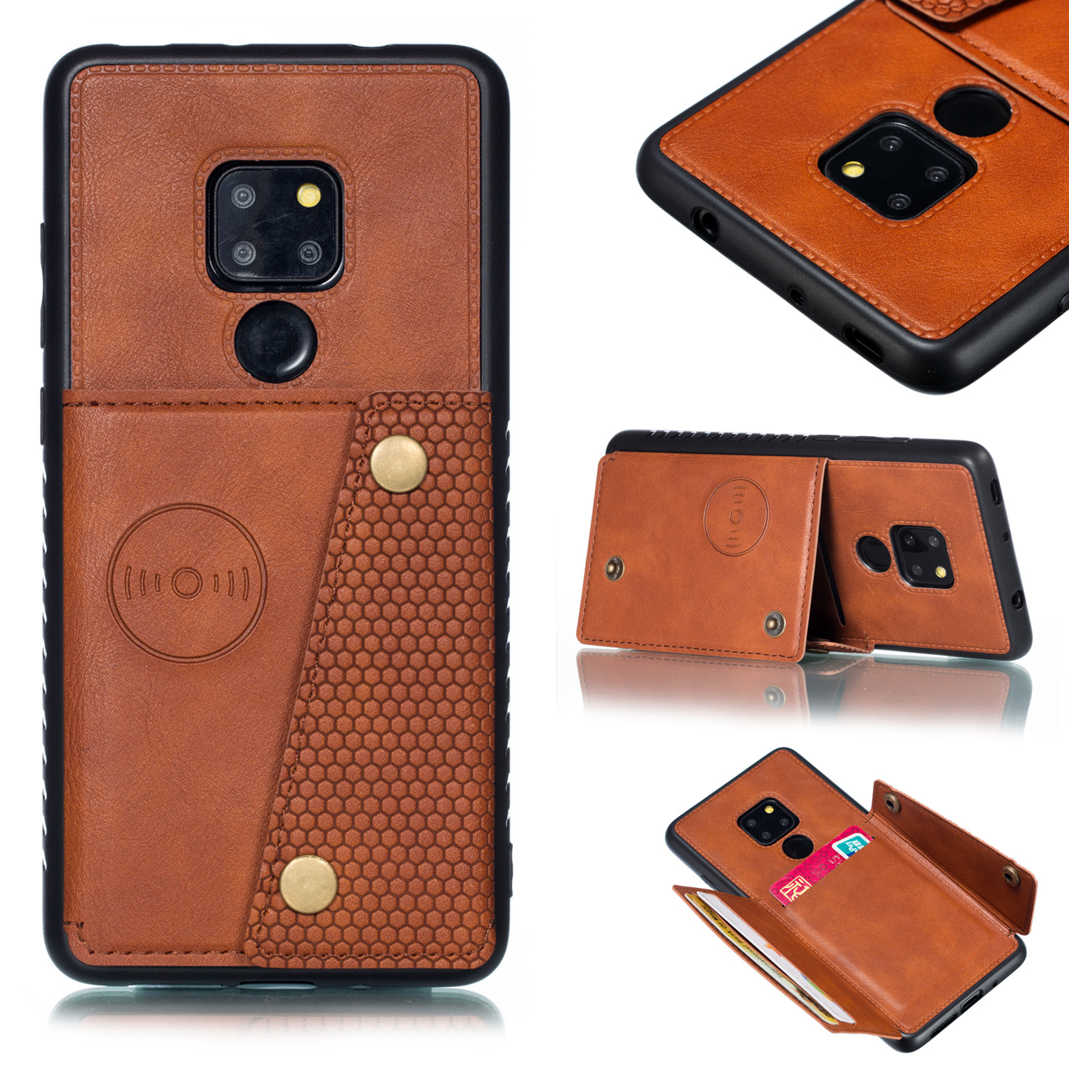 For HUAWEI MATE 20 Double Buckle Non-slip Shockproof Cell Phone Case with Card Slot Bracket Light Brown
