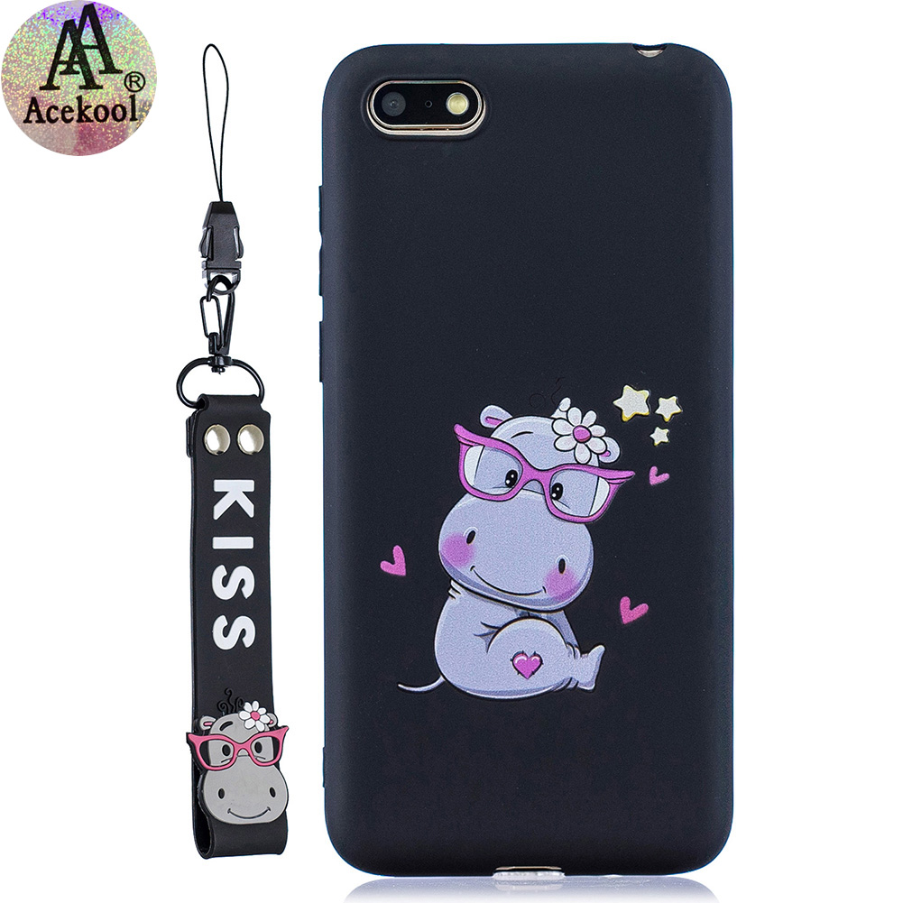 Acekool for HUAWEI Y5 2018 Cartoon Lovely Coloured Painted Soft TPU Back Cover Non-slip Shockproof Full Protective Case with Lanyard black