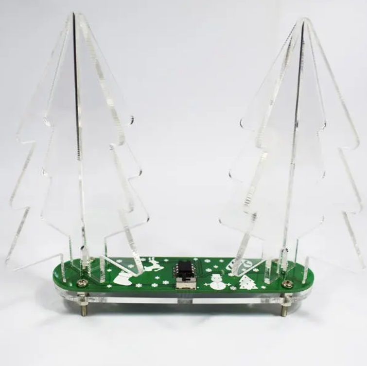 DIY Full Color Changing LED Acrylic 3D Christmas Tree Electronic Learning Kit  Green PCB+Frosted Acrylic
