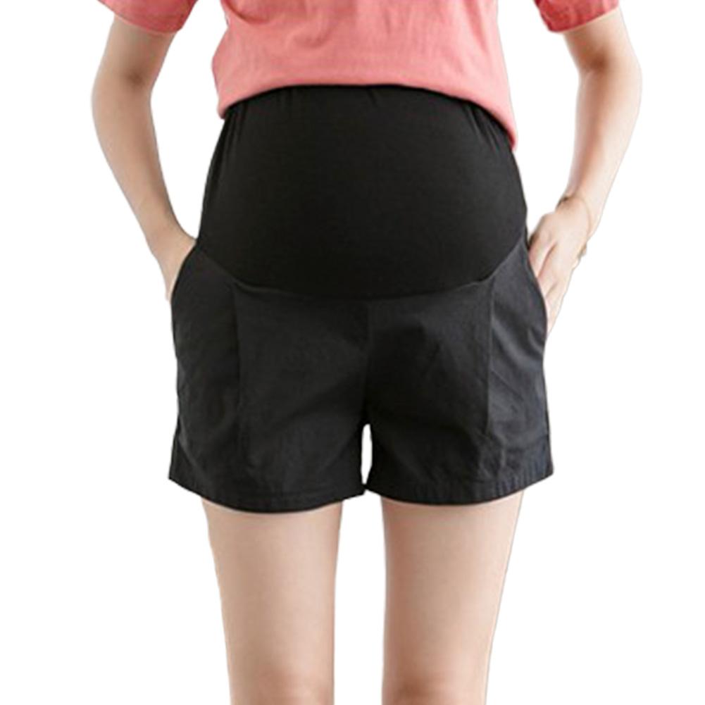 Pregnant Women Summer Shorts Casual Fashion Abdominal Shorts Maternity black_L