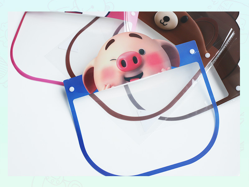 Kids Face Shield Full Face Covering Transparent Dust-proof Waterproof Safety Protection Visor Shield Pig