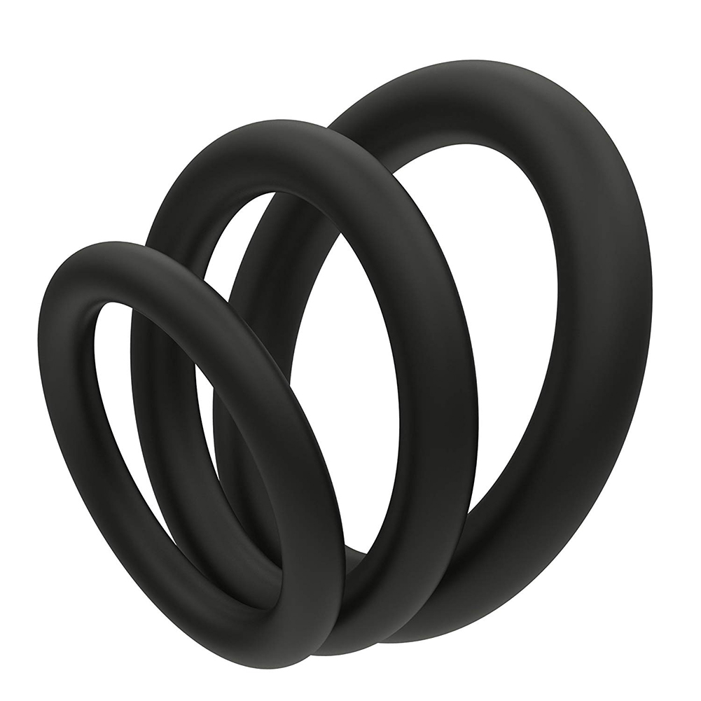 3 Pcs/set Super Soft Cock Ring Erection Enhancing Silicone Penis Ring Set for Extra Stimulation  black