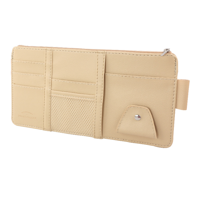 Car Sun Visor Card Holder Glasses Clip with Mobile Phone Bag Beige