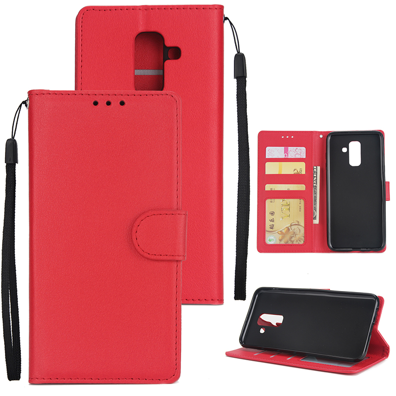 For Samsung A6 PLUS 2018 Flip-type Leather Protective Phone Case with 3 Card Position red