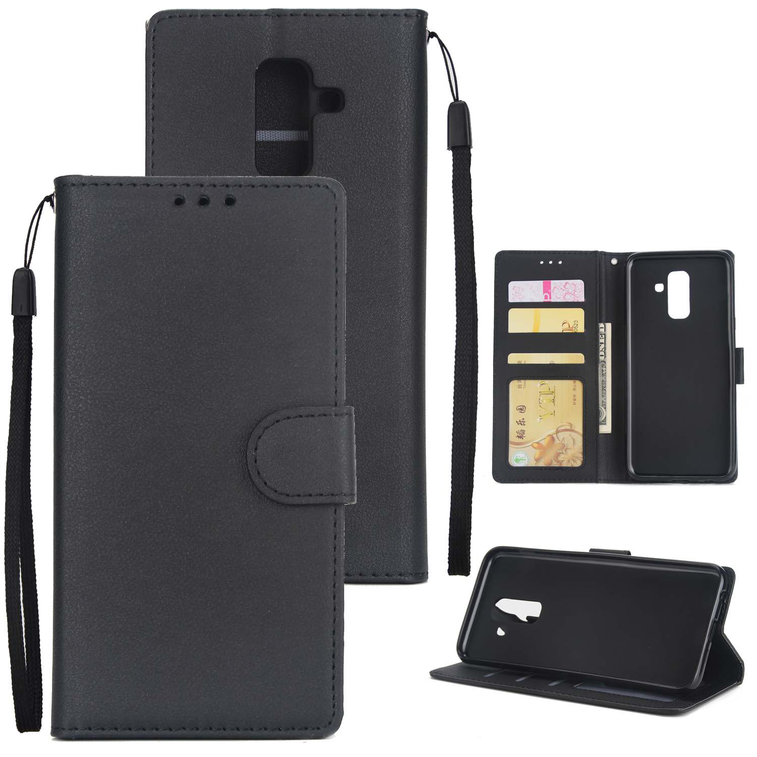 For Samsung A6 PLUS 2018 Flip-type Leather Protective Phone Case with 3 Card Position black