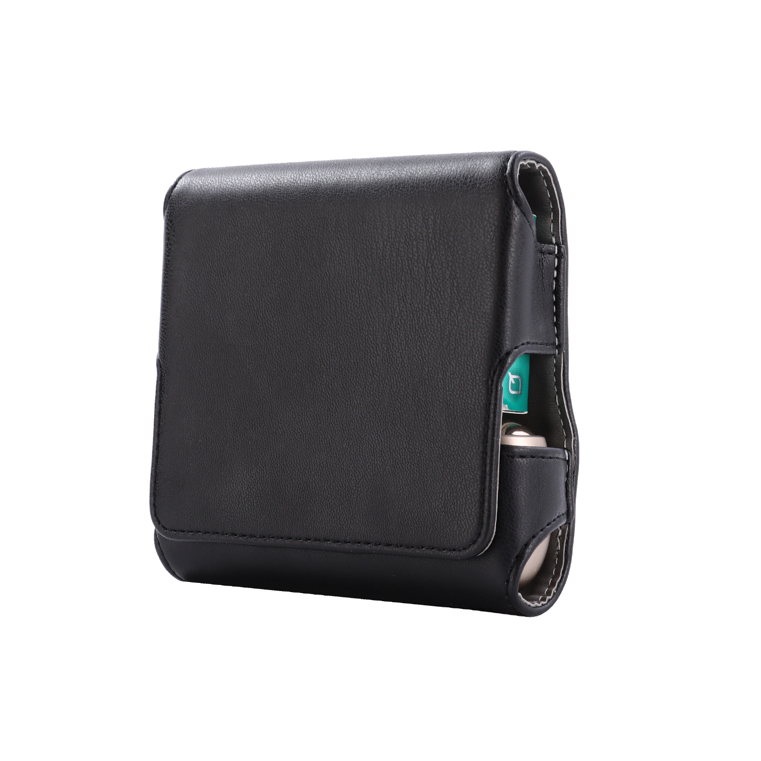 Magnetic Cover Compact Storage Box PU Leather Case for IQOS3.0 Electronic Cigarette with Card Slot Full Protection Shell Pocket  black