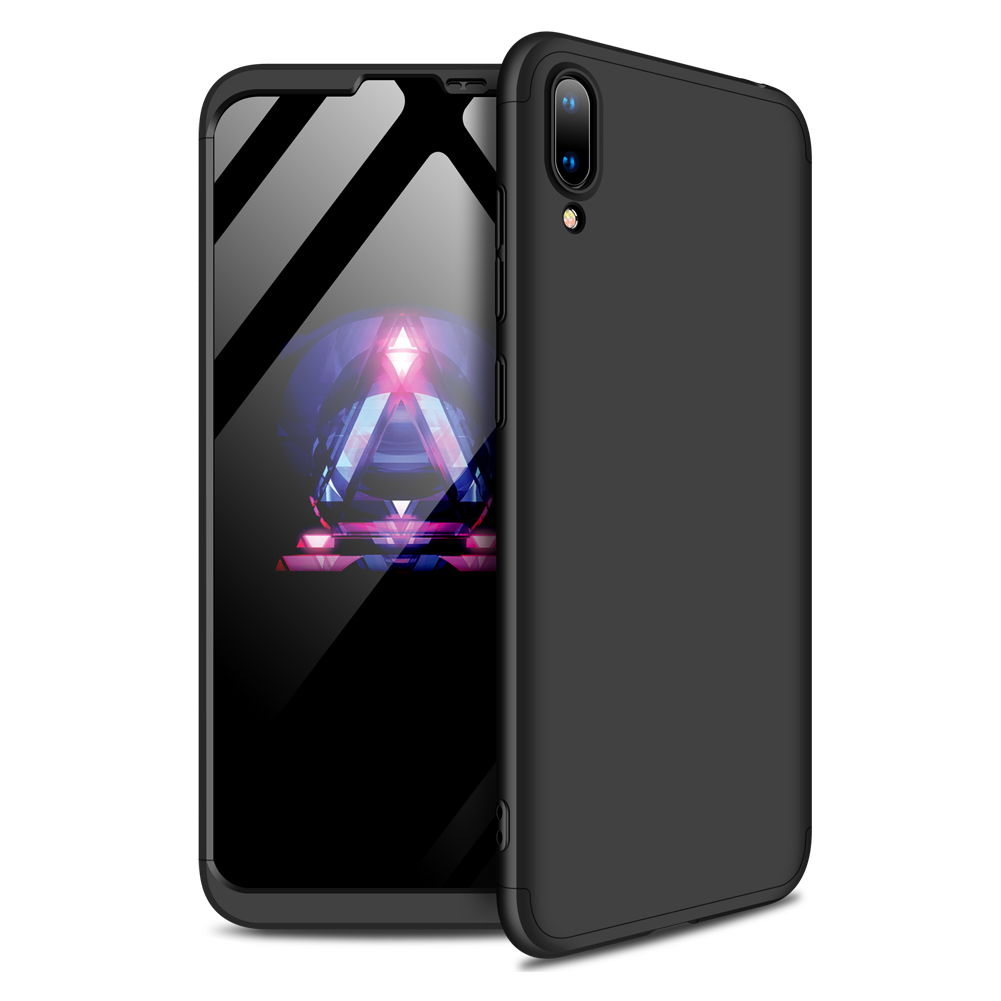 For HUAWEI Y7 2019 Ultra Slim PC Back Cover Non-slip Shockproof 360 Degree Full Protective Case black