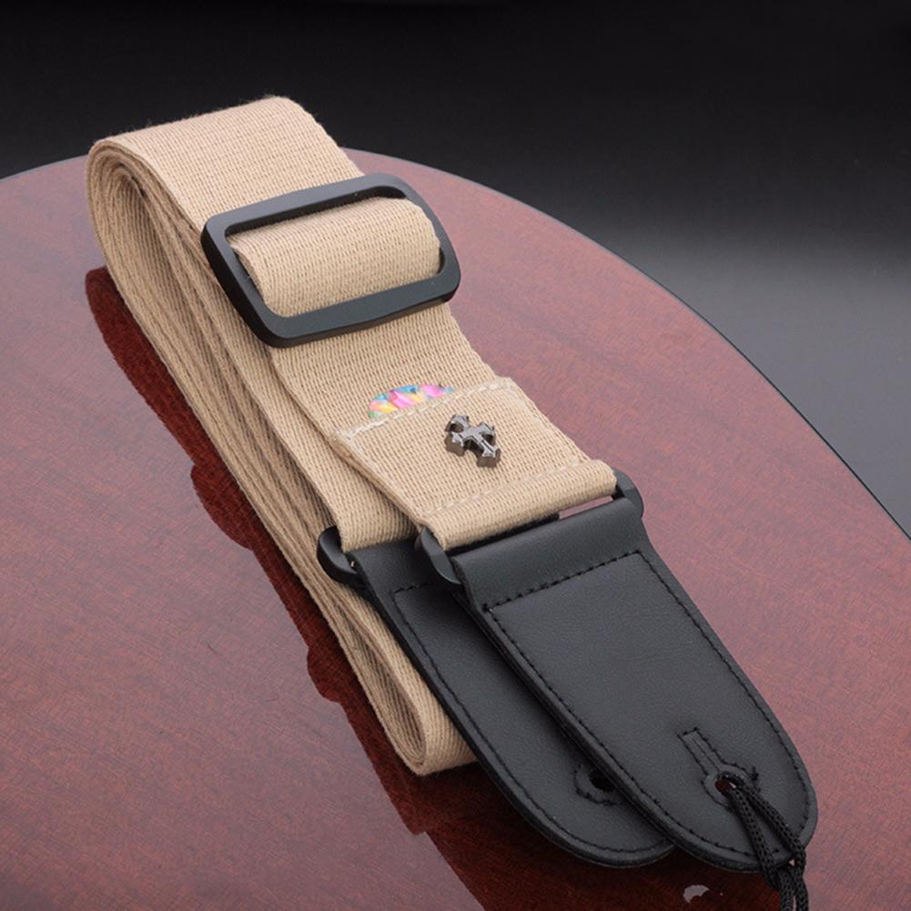 Longteam Electric Guitar Strap Acoustic Folk Guitarra Vintage Cross Personality Guitar Straps with Pick Pocket  Khaki
