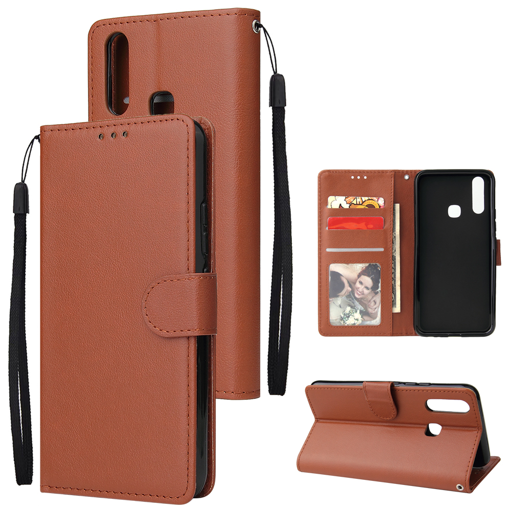 For VIVO Y17 Cellphone Cover PU Leather Shell All-round Protection Mobile Phone Case Precise Cutout Wallet Design Stand Function Brown