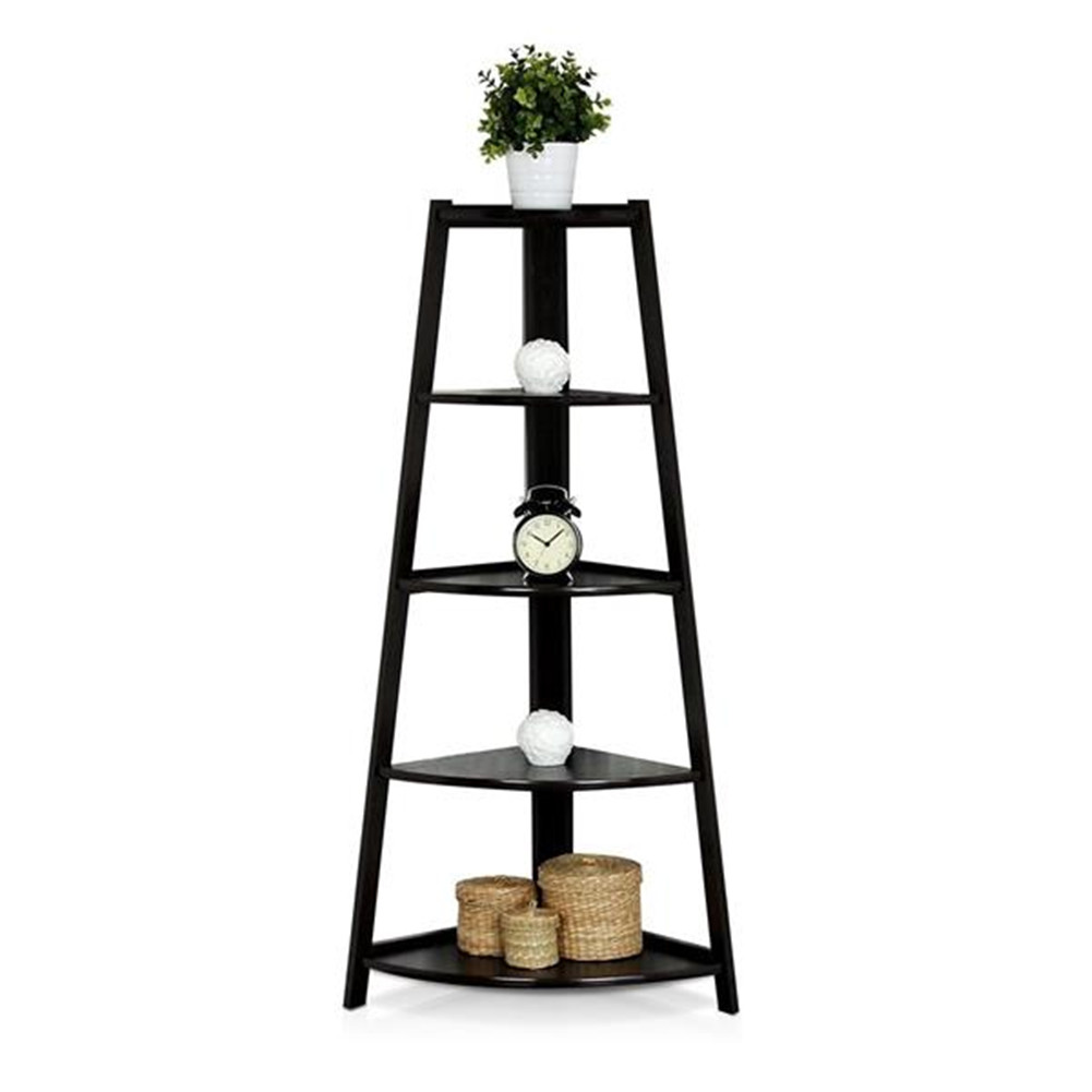 [US Direct] 5 Tier Corner Shelf Stand Wood Display Storage Home Furniture Home Office Storage black