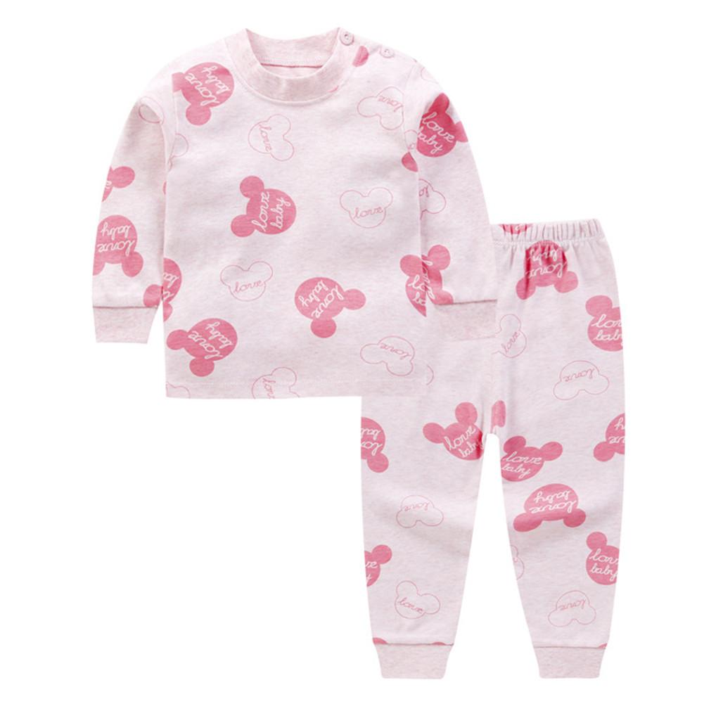 2 Pcs/set Children's Underwear Set Cotton Long-sleeve + Trousers for 0-3 Years Old Kids D_80cm