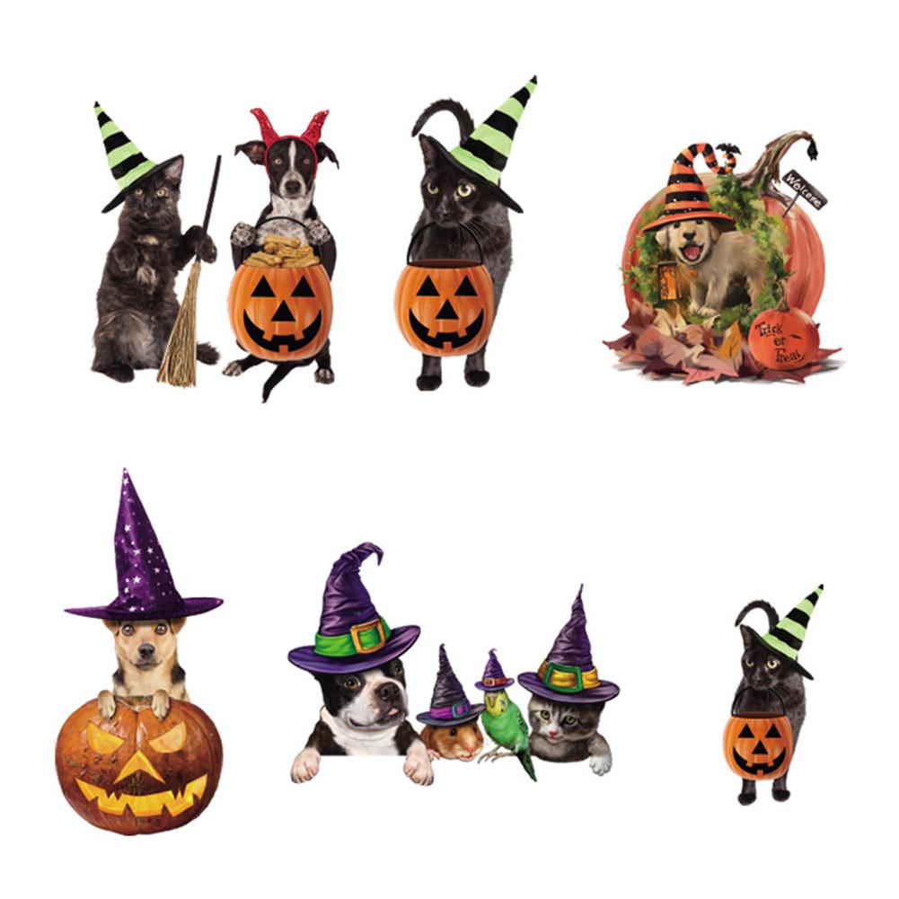 Halloween Window Stickers Cute Hat Pet Pattern Window Wall Decor for Home 40*60CM typesetting