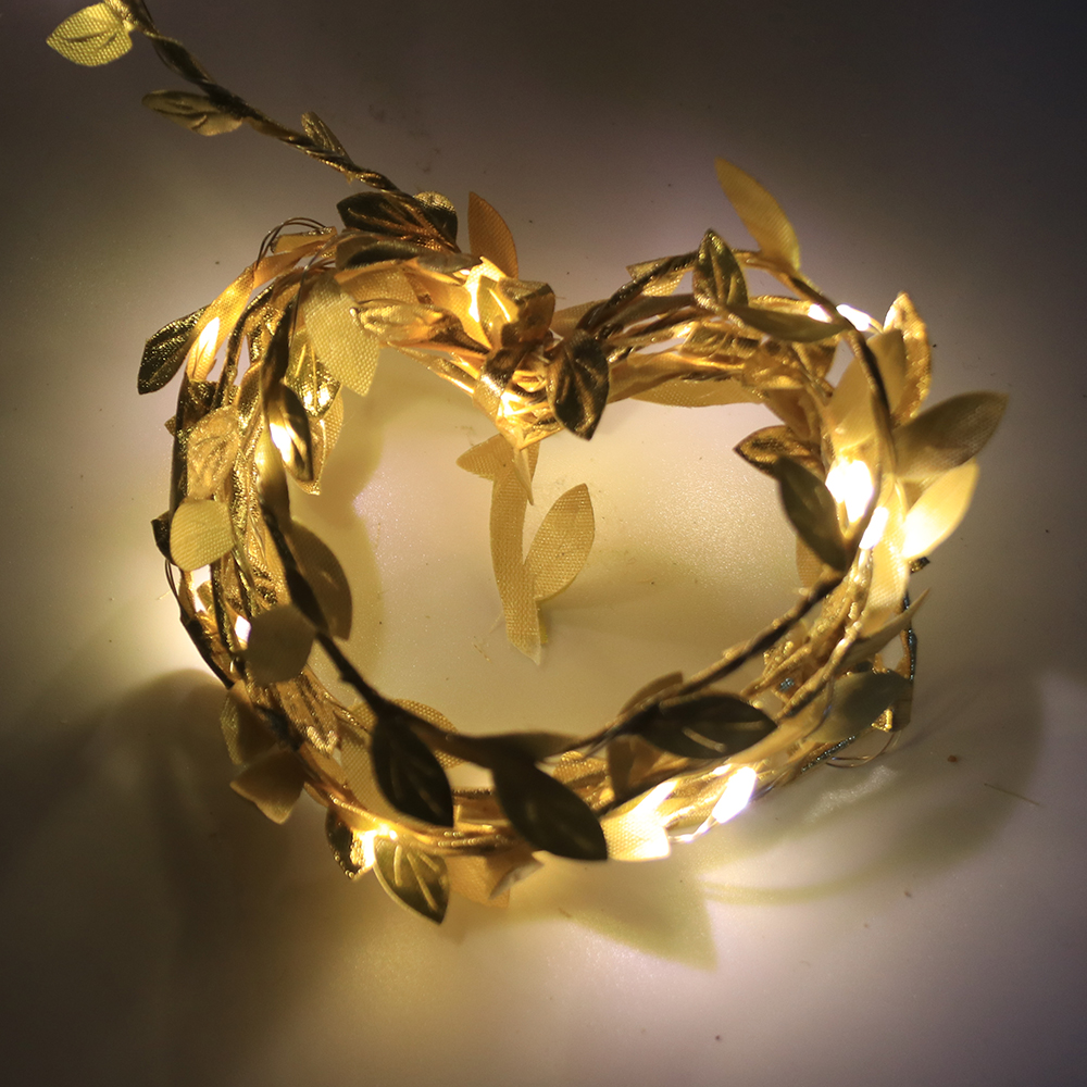 Simulate Leaf Garland String Light Flexible Copper Wire Artificial Leaves Lamp for Christmas Wedding Party Golden rattan_2m copper wire lamp (battery box)