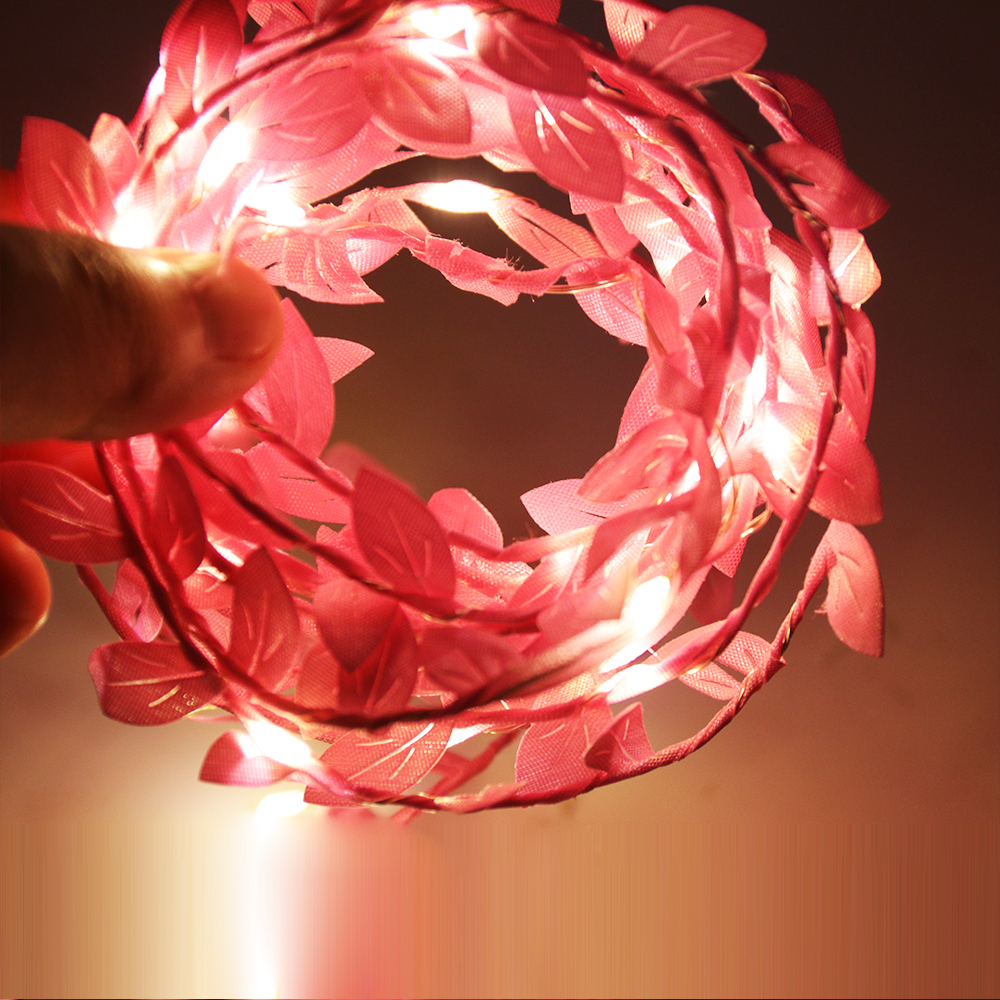 Simulate Leaf Garland String Light Flexible Copper Wire Artificial Leaves Lamp for Christmas Wedding Party Pink leaf rattan_2m copper wire lamp (battery box)