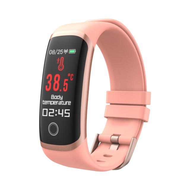 T4 Sport Smart Watch Temperature Measurement Bracelet Health Monitor Heart Rate Fitness Monitoring IP67 Waterproof Pink