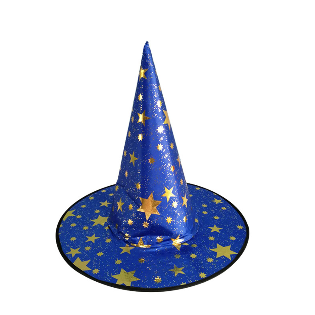 Children Adult Halloween Cosmetic Ball Party Pentagonal Magic Wizard Cap Witch Hat Blue star hat_38*36cm