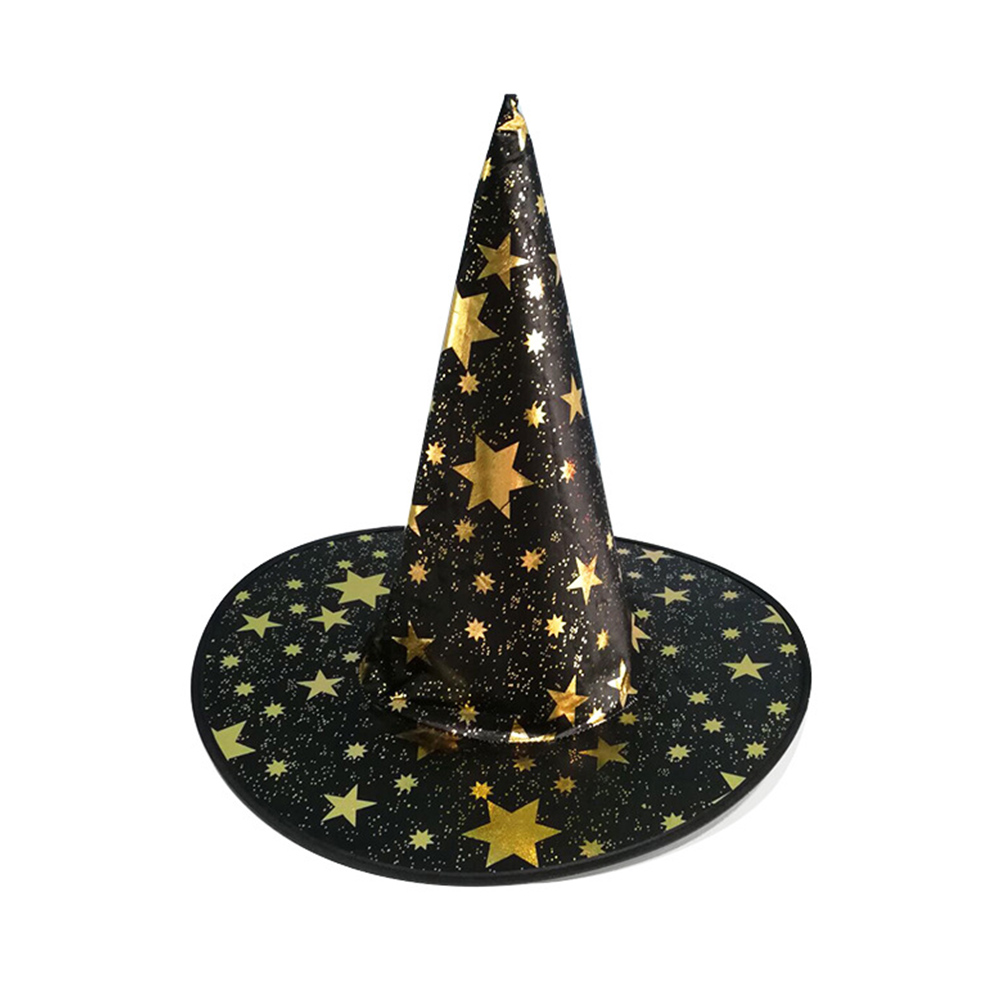 Children Adult Halloween Cosmetic Ball Party Pentagonal Magic Wizard Cap Witch Hat Black star hat_38*36cm