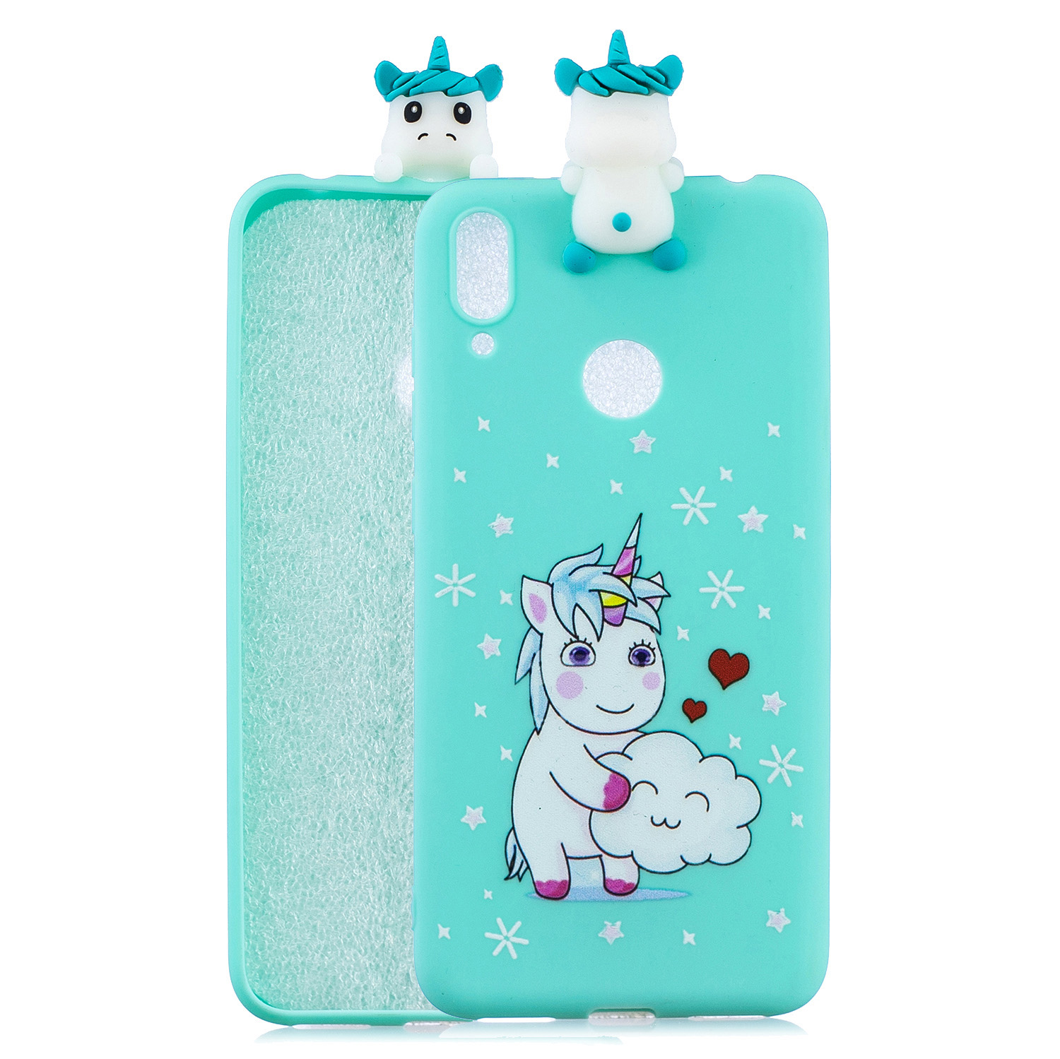 For Huawei Y7 2019 3D Cartoon Lovely Coloured Painted Soft TPU Back Cover Non-slip Shockproof Full Protective Case Love unicorn