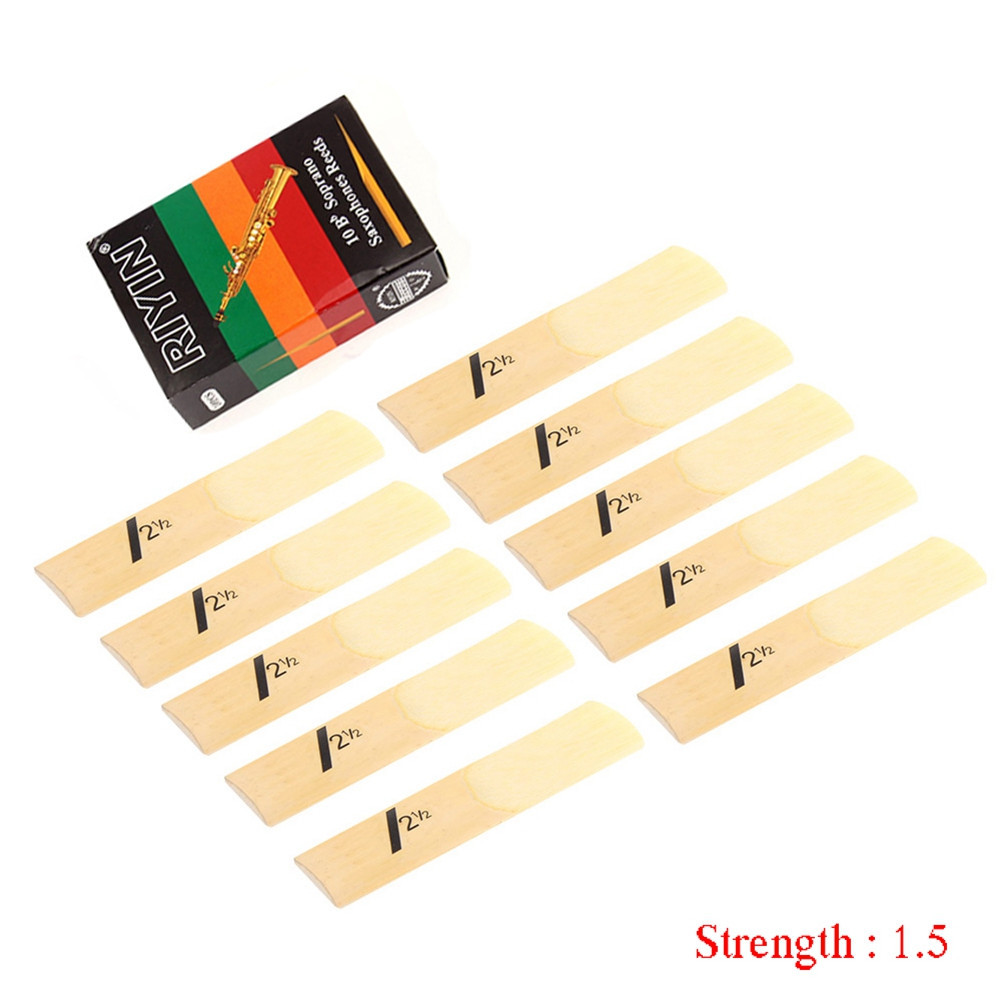 10pcs Saxophone Reed Set Bb Tone with Strength 1.5/2.0/2.5/3.0/3.5/4.0 for Soprano Sax Reed  Hardness 1.5