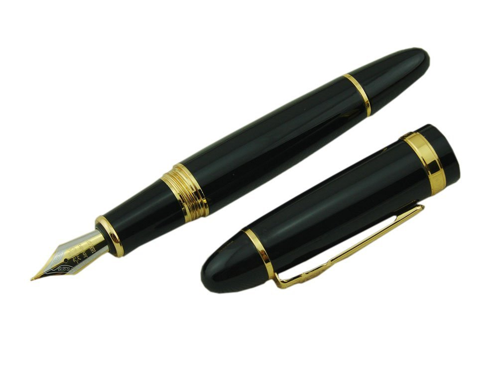 Jinhao Vivid Black Fountain Pen with Gold Trim for Office Writing Black + Gold