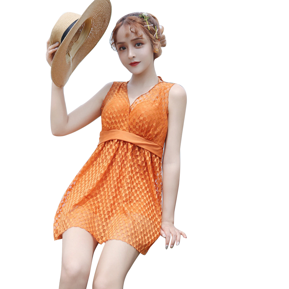 Female  Swimsuit  Skirt-style One-piece Sexy Lace Skirt Conservative Fresh Swimsuit Orange_M