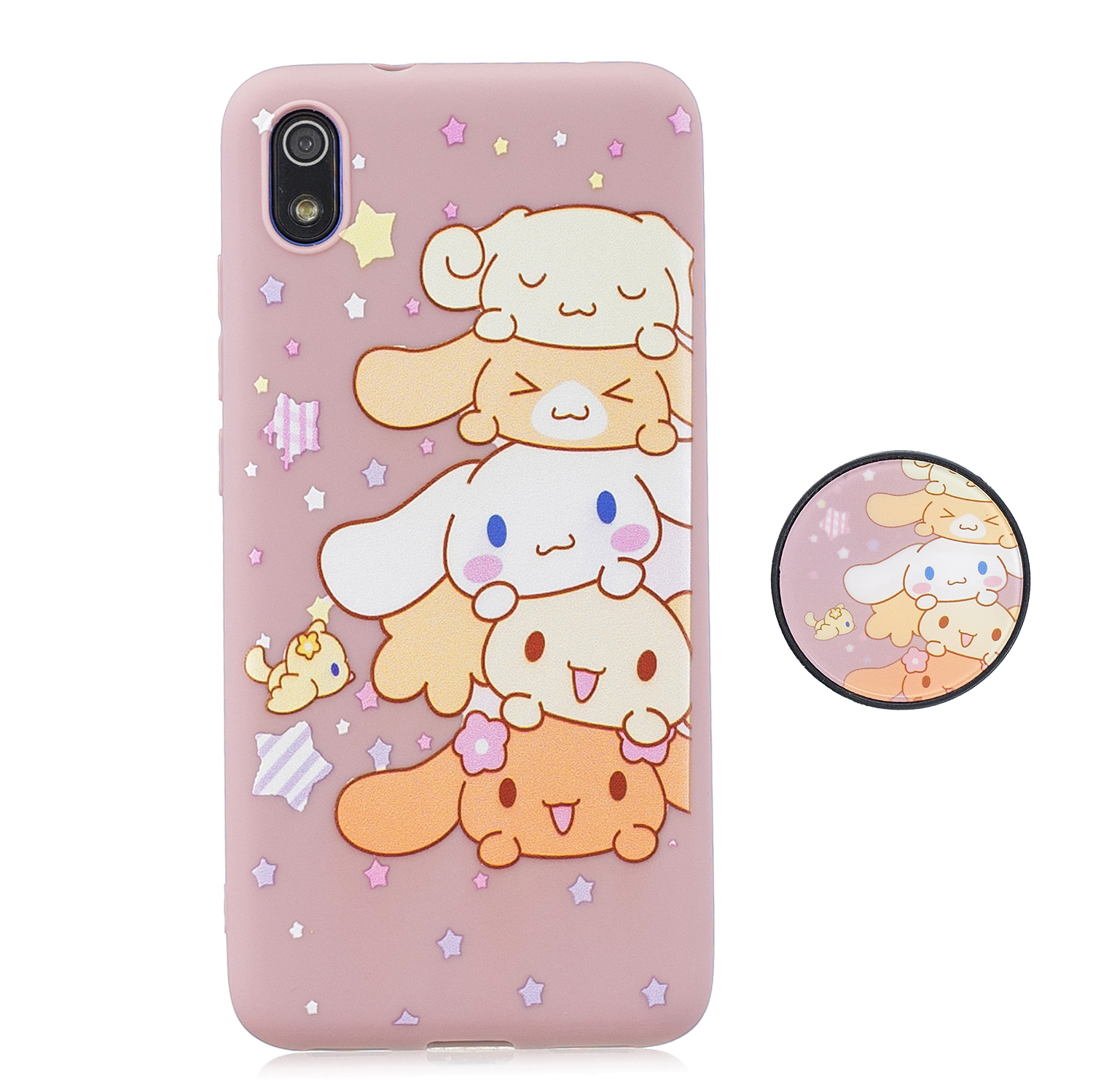 For Redmi 7A Soft TPU Full Cover Phone Case Protector Back Cover Phone Case with Matched Pattern Adjustable Bracket 1