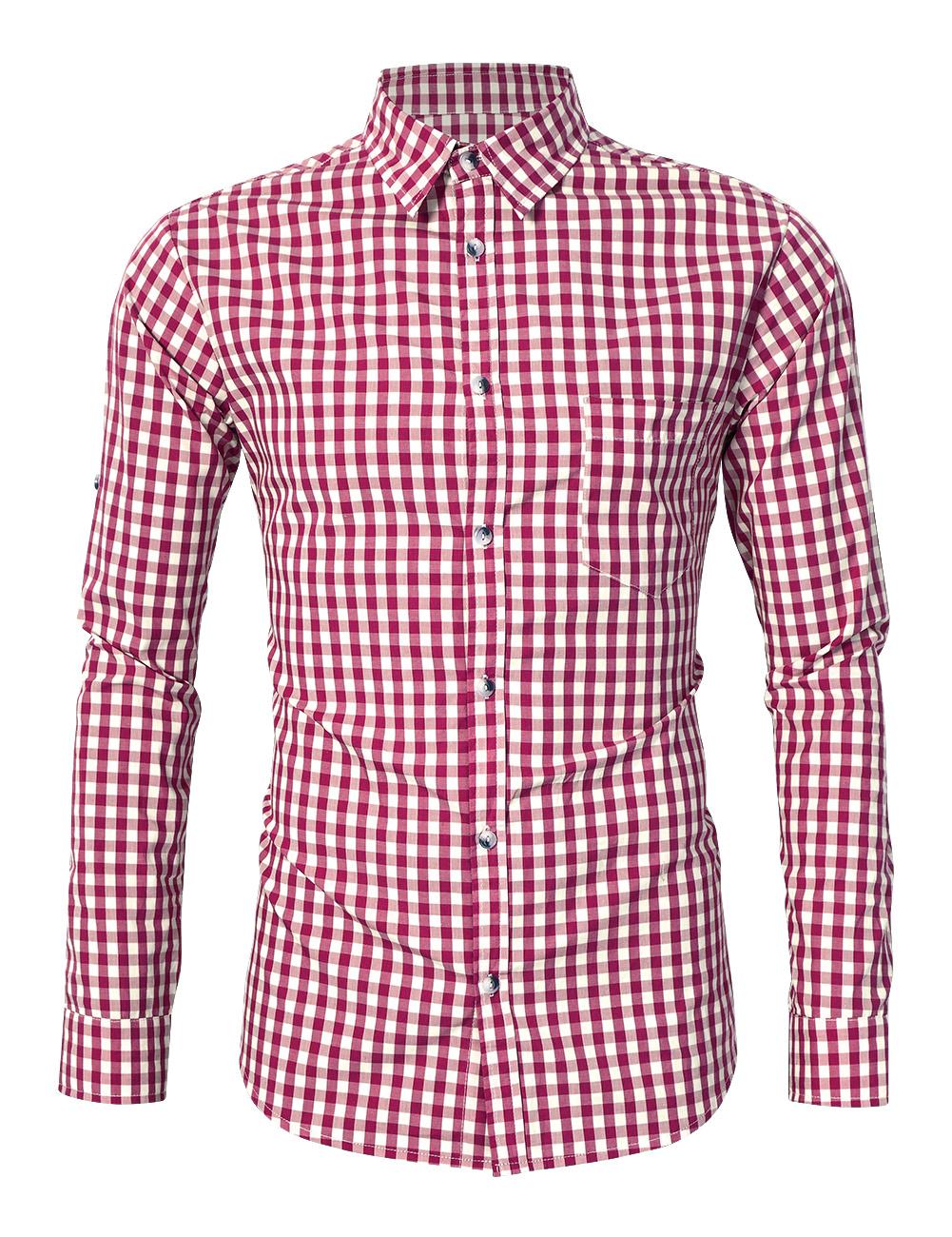 Glorystar Men's Long Sleeve Checkered Bavarian Oktoberfest Shirt for Lederhosen Red_S