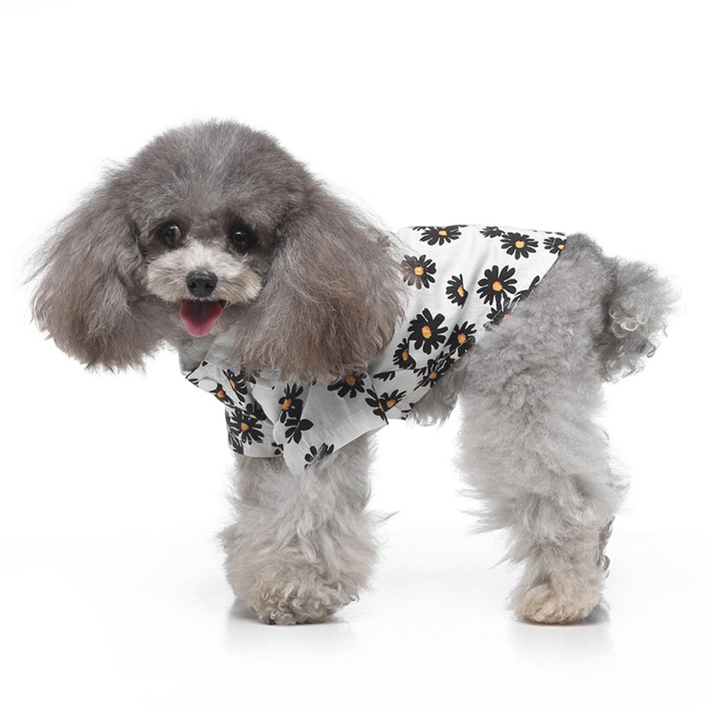 Summer Flower Print Beach Shirt Dog Cat Casual Pet Travel Blouse  white_XL