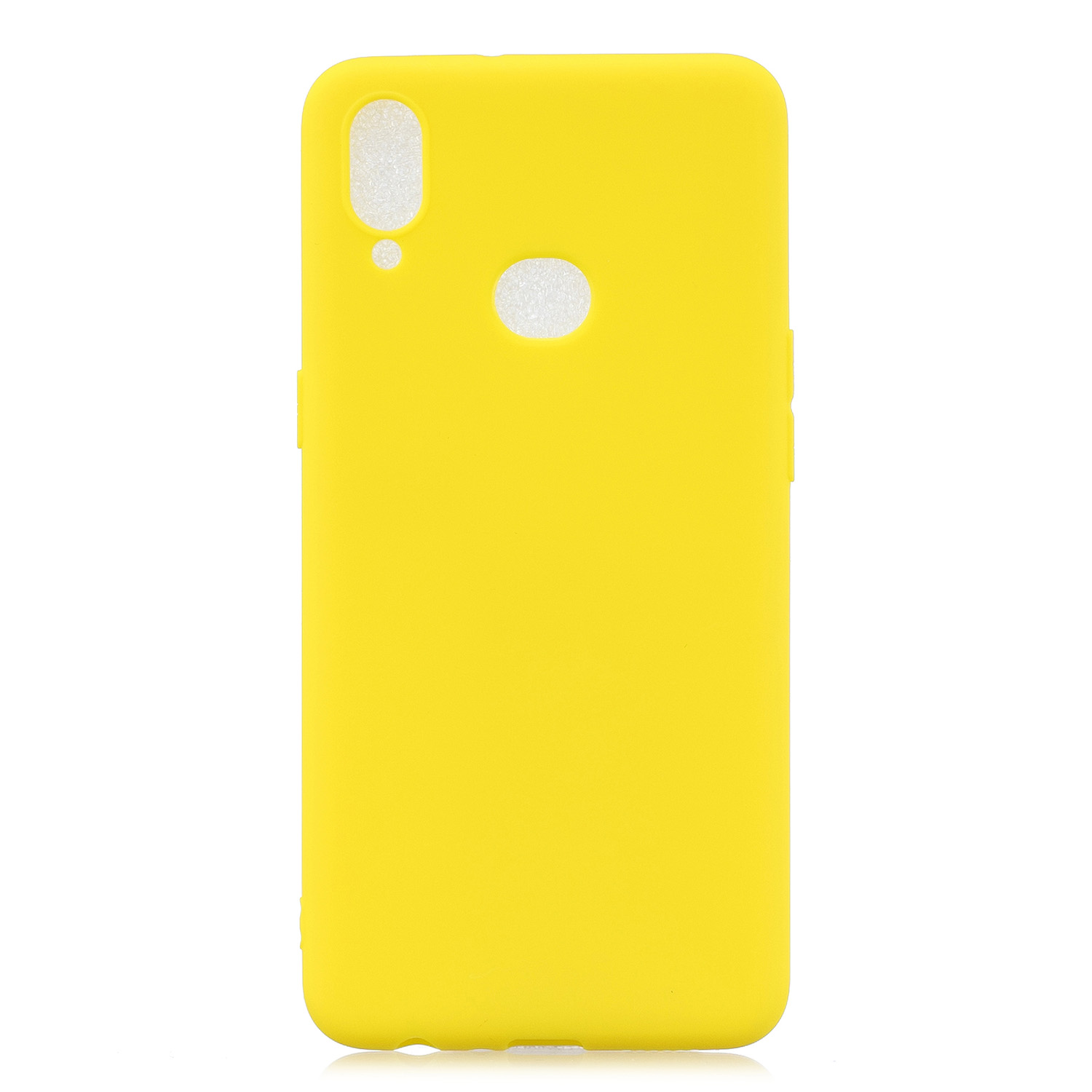 For Samsung A10S A20S Shockproof TPU Back Cover Soft Candy Color Frosted Surface Mobile Phone Case yellow