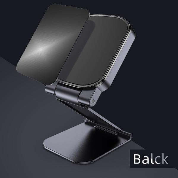 Magnetic Car Phone Holder Dash Board Magnet Mobile Holders Folding Adjustable Magnet Support Desktop Bracket black