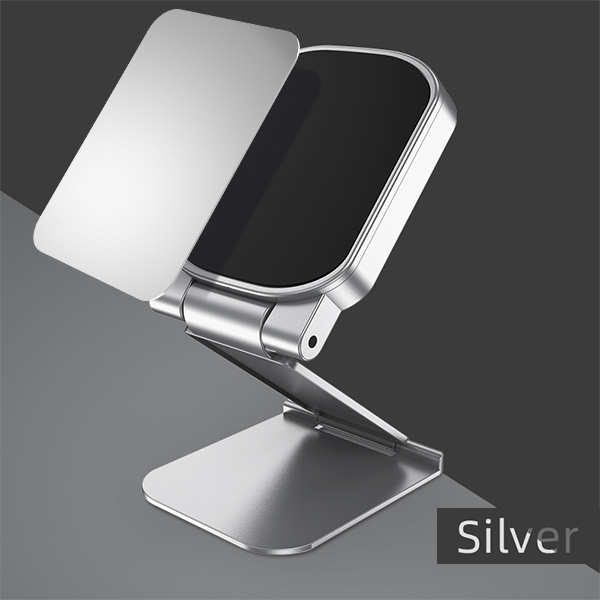 Magnetic Car Phone Holder Dash Board Magnet Mobile Holders Folding Adjustable Magnet Support Desktop Bracket Silver