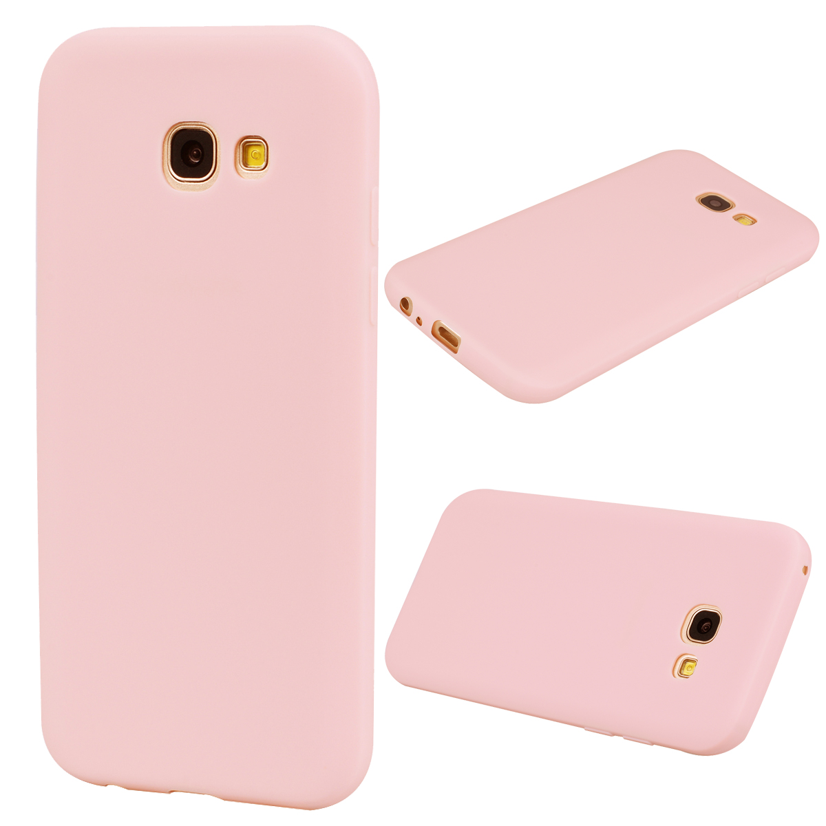 for Samsung A5 2017 Cute Candy Color Matte TPU Anti-scratch Non-slip Protective Cover Back Case Light pink